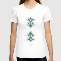 gray pattern T-shirts featuring gray flowers by SNUFF