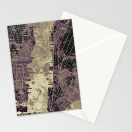 New York city map ink Stationery Cards