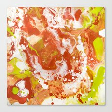 Color Commentary #8: Canteloupe, Honeydew (Bright Yellow Green & Orange) [Marilyn Fenn] Canvas Print