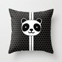 racing Throw Pillows featuring Racing Panda by XOOXOO