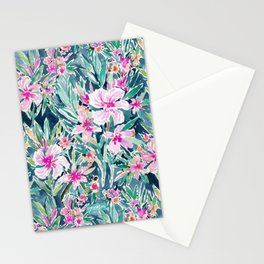 LUSH OLEANDER Tropical Watercolor Floral Stationery Cards