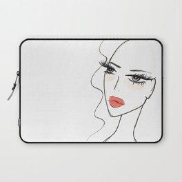 Red lips girl portrait Laptop Sleeve