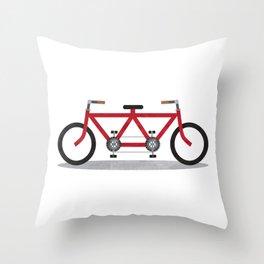 Broken Teamwork Tandem Bicycle Throw Pillow