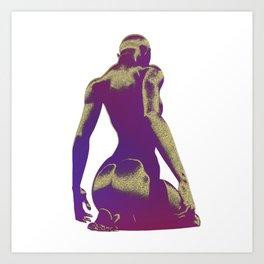 Golden Seated Goddess purple cut version Art Print