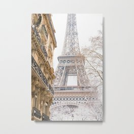 Paris Eiffel Tower in Snow Metal Print