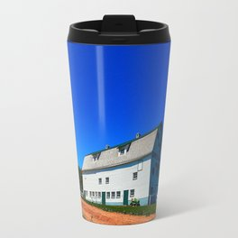 Barn and Red Sands under Blue Skies Travel Mug