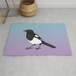 Magpie pen drawing Rug