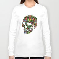 tiki Long Sleeve T-shirts featuring Tiki Skull by spacecolour