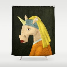 The Unicorn with the Pearl Earring Shower Curtain