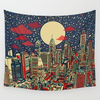 philadelphia Wall Tapestries featuring philadelphia city skyline by Bekim ART