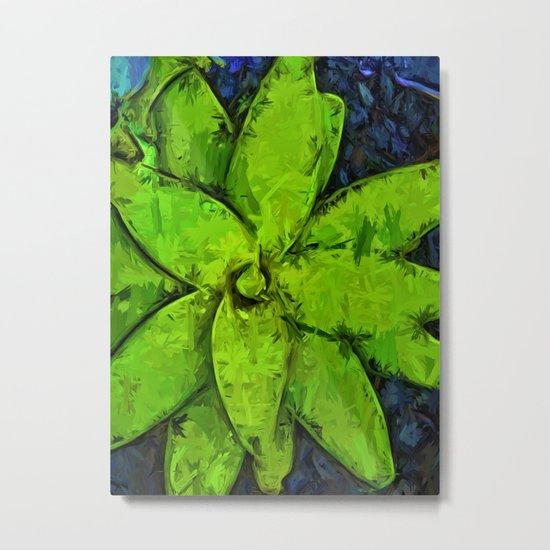 Green Agave and Dark Blue Pebbles Metal Print