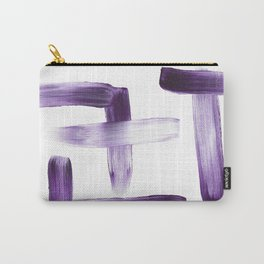 Purple Brush Strokes on White Carry-All Pouch