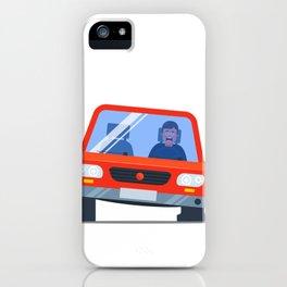 Car Pierced Wheel Began Inflate Upset Driver Flat Illustration iPhone Case