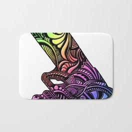 Rainbow Beveled Hand Drawn Zen Pistol 9mm Gun Artwork Bath Mat