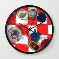 cigarettes Wall Clocks featuring Coffee and Cigarettes by The Strawbridge Collective