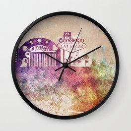 Las Vegas skyline art Wall Clock