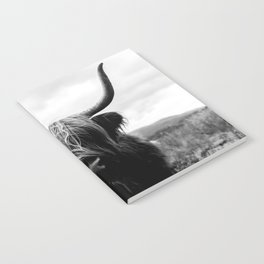 Scottish Highland Cattle Black and White Animal Notebook