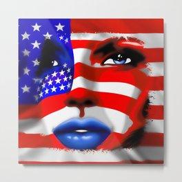 Usa Flag on Girl's Face Metal Print