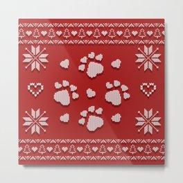 Dog Paws Christmas - Sweater Weather Isle Metal Print