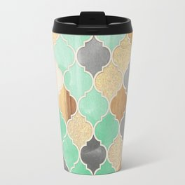 Charcoal, Mint, Wood & Gold Moroccan Pattern Travel Mug