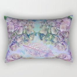 Watercolor hydrangeas and leaves Rectangular Pillow