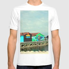 Small colorful Houses at Sea MEDIUM White Mens Fitted Tee