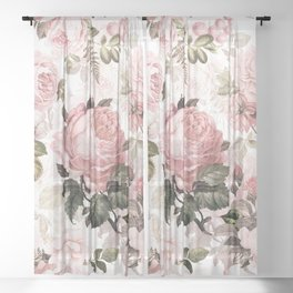 Vintage & Shabby Chic - Sepia Pink Roses  Sheer Curtain