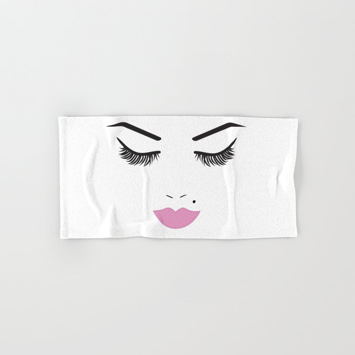 Beauty Face with Pink Lips Hand & Bath Towel
