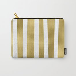 Gold unequal stripes on clear white - vertical pattern Carry-All Pouch