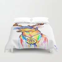 swag Duvet Covers featuring Swag Stag by Heather Hartley