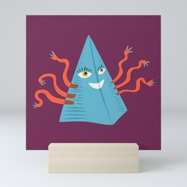 Weird Blue Pyramid Character With Tentacles Mini Art Print
