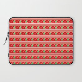 Pixeled Christmas Tree On Red Christmas Pattern Laptop Sleeve