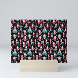 Busy Santas I Mini Art Print