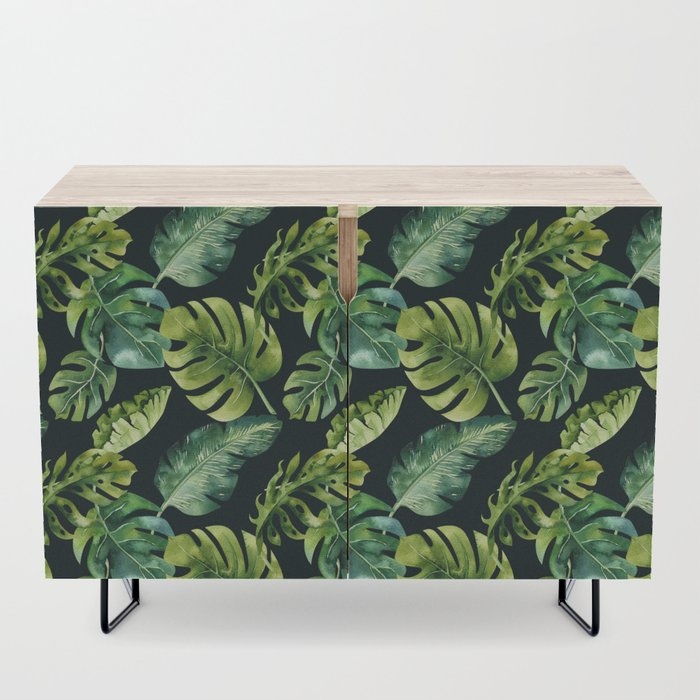 Watercolor Botanical Tropical Palm Leaves on Solid Black Background Credenza