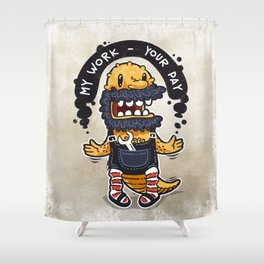 Unqualified Guest Worker is Looking for Job Shower Curtain
