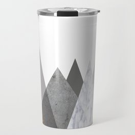Marble Gray Copper Black and White Mountains Travel Mug