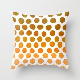 Burnt Honey Gold Amber Ombre Dots Throw Pillow