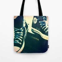 sneakers Tote Bags featuring Converse Sneakers by Tyland Creations