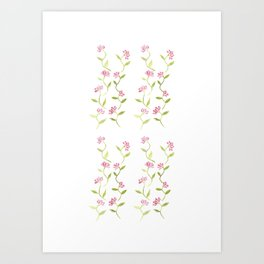 Watercolour Rose Pattern Art Print