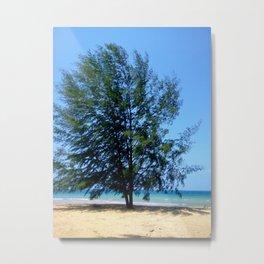 Tree On Seaside Metal Print