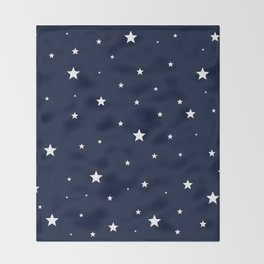 Scattered Stars White on Midnight Blue Throw Blanket