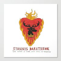 game of thrones Canvas Prints featuring Stannis Baratheon- Game of Thrones by 366Sketchbook