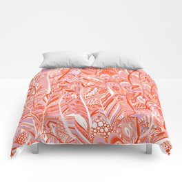 Abstract red coral lilac hand painted bohemian feathers pattern Comforters