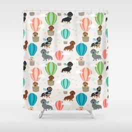 Dachshund hot air balloon dog cute design fabric doxie pillow decor phone case Shower Curtain