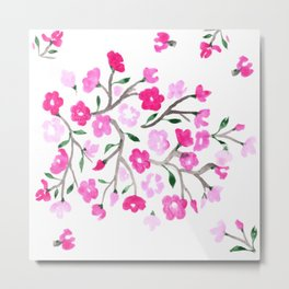 Pink Cherry Blossoms Hand Painted Metal Print