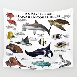Animals of the Hawaiian Coral Reefs Wall Tapestry