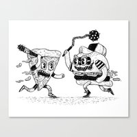 novelty Canvas Prints featuring The ultimate fast food fight! by Alejandro Giraldo