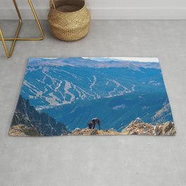 Dog Gone Climbing 2 // High above Copper Mountain Ski Resort in Colorado Landscape Photograph Rug