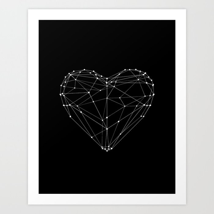 Polygon Love Heart modern black and white minimalist home room wall decor canvas Art Print