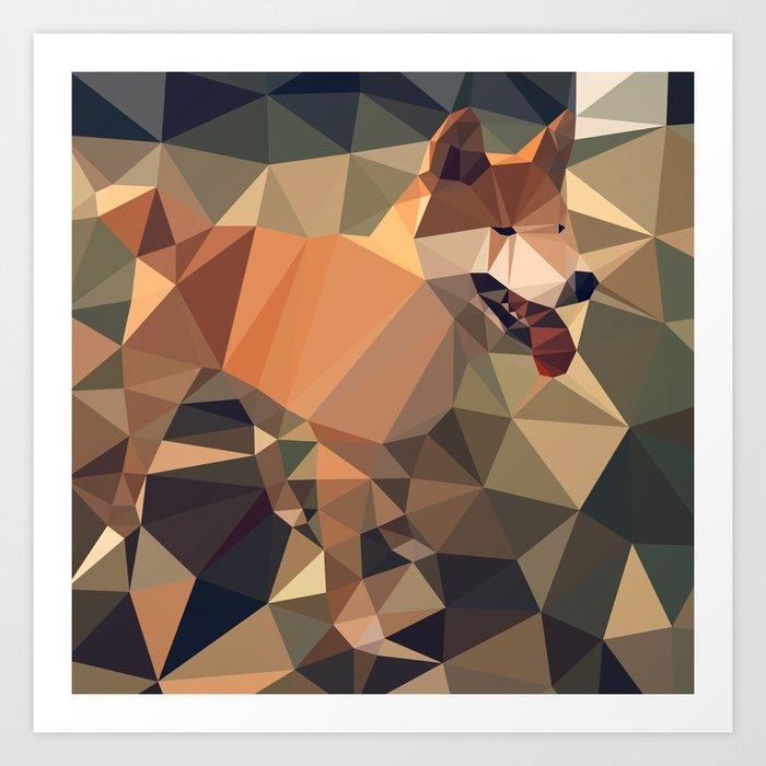 Triangular shiba inu Art Print